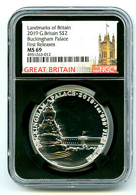 2019 Great Britain 2Pd 1 Oz Silver Ngc Ms69 Buckingham Palace First Releases