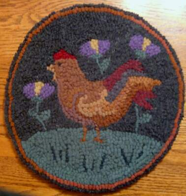 Rooster Among Blooms  Round Primitive Rug Hooking  Kit  with #8 cut wool strips