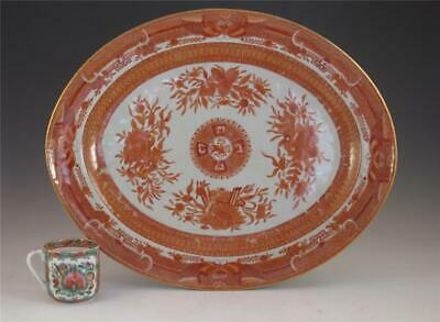 RARE LARGE ANTIQUE CHINESE EXPORT PORCELAIN ORANGE FITZHUGH PLATTER EARLY 19TH c