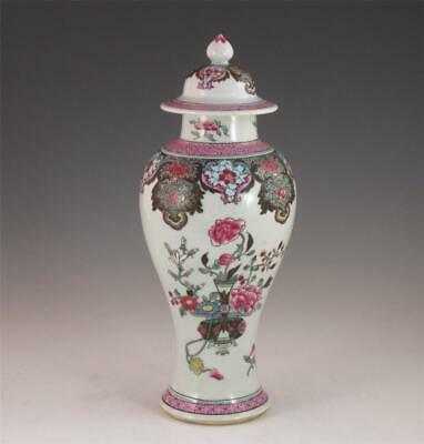 Antique Chinese Export Porcelain Famille Rose Covered Vase With Great Color