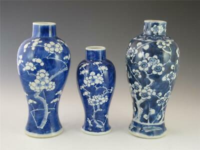Lot Three Antique Chinese Porcelain Blue & White Vases W/ Prunus Flowers 19/20Th