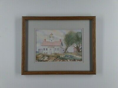 """Sally Sargent Painting Original Signed Watercolor Lighthouse Framed 15""""W x 12""""H"""