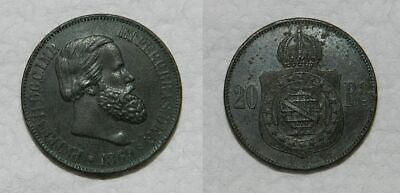 BRAZIL : 20 REIS 1869 - EF Sharp Detail