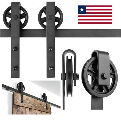 Wood Door Hardware Sliding Barn Door Set Kit Rustic Black Barn Sliding Track 6.6