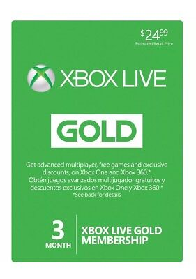 Microsoft 3 Month Xbox Live Gold Membership Subscription Quick Message Delivery!