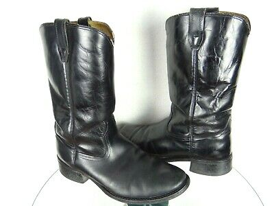 Vtg Acme Cowboy Boots Black Leather Made In Usa Mens Size 10.5