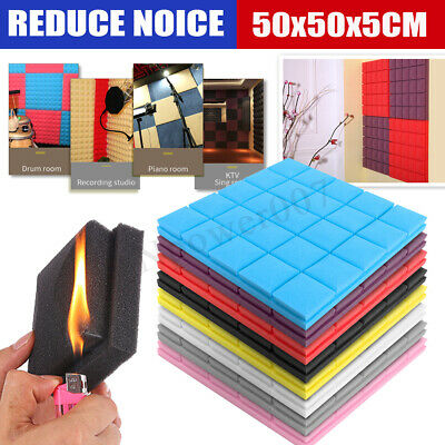 50x50CM Studio Acoustic Foam Panels Sound Insulation Stop Treatment Proofing HOT