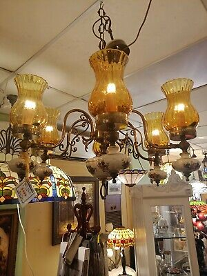 Classic Porcelain and Brass Chandelier with yellow shades Antique Reproduction