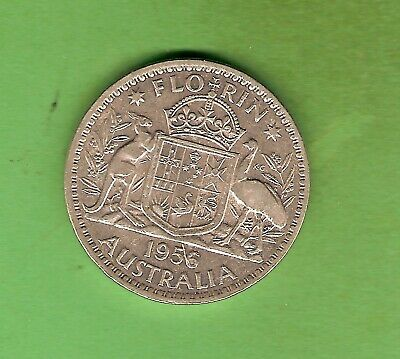 #c34. 1956  Australian Silver Florin Two Shilling Coin