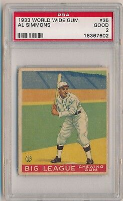 AL SIMMONS 1933 Goudey Gum #35 PSA 2 GOOD LOW NUMBER CHICAGO WHITE SOX HOF
