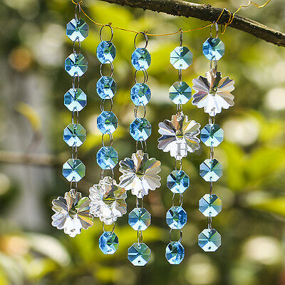 Sky Blue Crystal Chandelier Prism Snowflake Octagon Bead Chain Wedding Pendant
