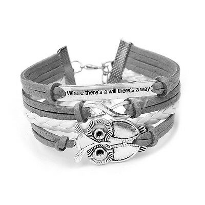 Women Men Fashion Infinity Owl Friendship Leather Cute Charm Bracelet Bangle New