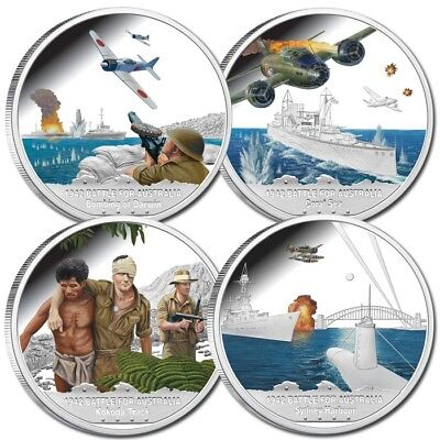 2012 Niue 1942 Battle for Australia,4 coin SILVER PROOF SET  without Certificate