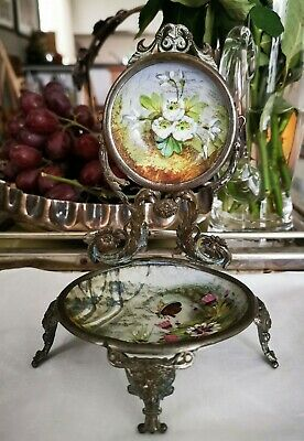 19th Century French hand painted porcelain and ormolu watch stand