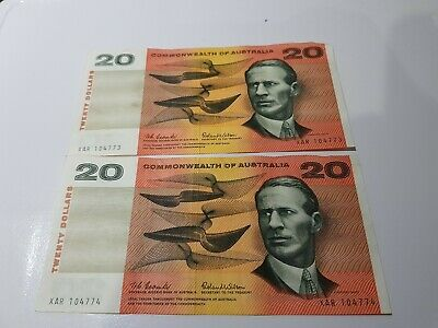 2x AUSTRALIA 1966 $20 Dollars COOMBS & WILSON COMMONWEALTH NOTES CONSECUTIVE !!