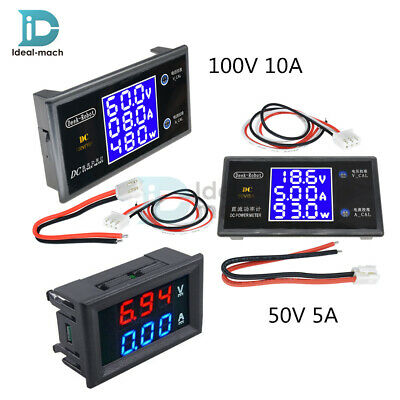 LCD Digital Voltmeter Ammeter DC 50V 5A 100V 10A Voltage Current Power Meter