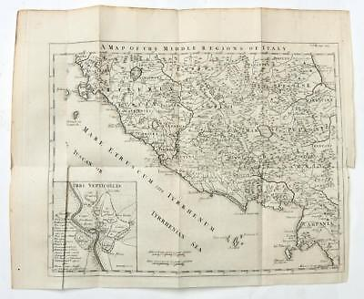 MAP of MIDDLE ITALY 1747 ANTIQUE LINE ENGRAVING