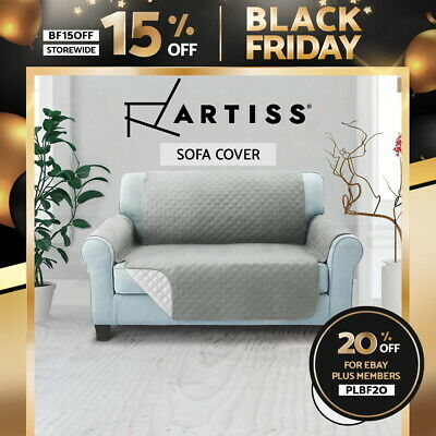 Artiss Sofa Cover Quilted Couch Covers Lounge Protector Slipcovers 2 Seater Grey