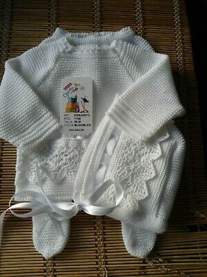 Bnwt Spanish Baby White Cotton Lace Details 3Pc Fine-Knit Outfit-00M