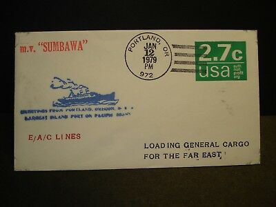 Ship M/V SUMBAWA East Asiatic Co Lines Naval Cover 1979 Cachet Portland, OR