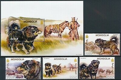 [H16280] Mongolia 2001 DOGS - Pets Good lot set of stamps + sheet very fine MNH