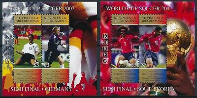 [H16448] St Vincent Grenadines 2002 SOCCER Good set of 2 sheets very fine MNH
