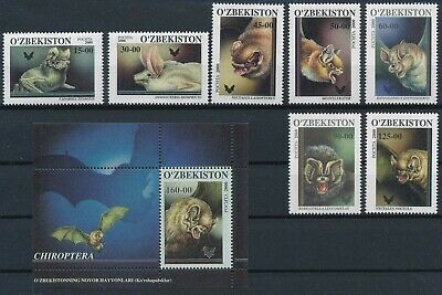 [H16549] Uzbekistan 2000 BATS Fauna Good lot set of stamps + sheet very fine MNH
