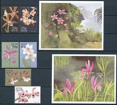 [H16689] Nevis 1999 ORCHIDS Good lot set of stamps + set 2 sheets very fine MNH