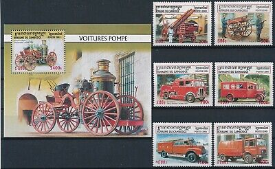 [H16775] Cambodia 2001 FIRE RESCUE Good lot set of stamps + sheet very fine MNH