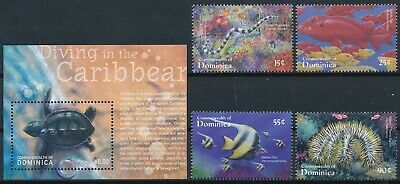 [H16781] Dominica 2001 MARINA LIFE Good lot set of stamps + sheet very fine MNH