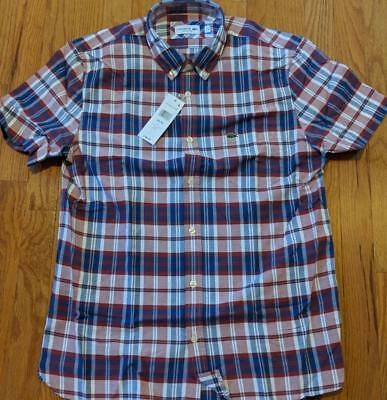 c977857d3766e0 Authentic Lacoste Gingham Checked Button Up SS Woven Shirt Red Navy 44 XL