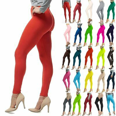 New Ladies Legging Plain Full Length Stretchy Womens Leggings Viscose Plus Size