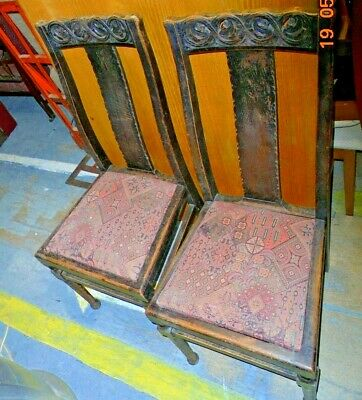 Pair Of Antique Carved Oak Upholstered Dining Chairs - C67