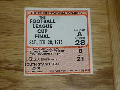 1976 League Cup Final ticket Manchester City v Newcastle United