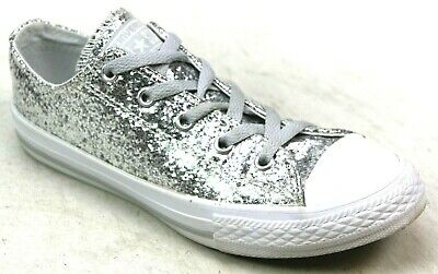 a76f7744787c Kids Girls Converse All Star Low Glitter Silver Skater Pumps Trainers Uk  Size 2