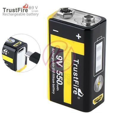 Trustfire 9v PP3 550mAh USB Rechargeable Lithium Battery