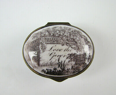 "18th C Antique Bilston Battersea English Enamel Box ""Love the Giver"""