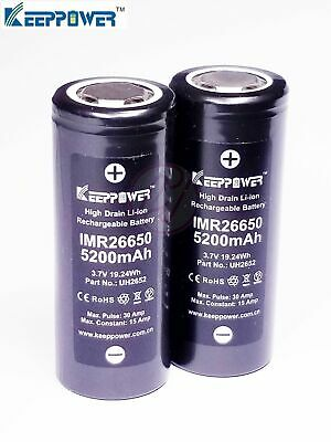 Keeppower IMR26650 UH2652 5200 mAh 30A Li-ion Rechargeable 3.7v Battery x2
