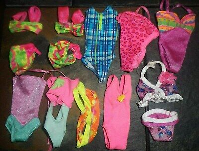 Barbie Skipper Doll Clothes - 10 ASSORTED AGE 1 & 2 PIECE SWIMSUITS