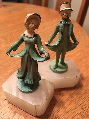 """Antique Victorian Lead Figurines/ 4.5"""" Tall -Marble Base Bookends ? 1930/ 40's"""