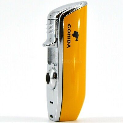 Cohiba Metal Windproof Portable Cigar Lighter 3 Jet Flame Lighters W/Punch