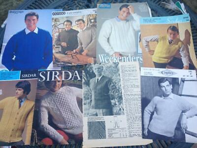 8 Knitting Patterns for Men - Sweaters, Slipover, Cardigans - Cable DK 4 ply
