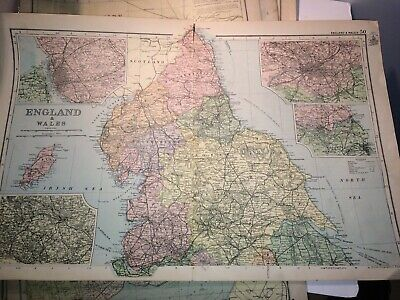 6 X Original large & detailed Antique County Maps - BACON , 1897