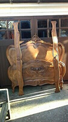 Antique French Walnut Louis XV Style Rococco Double Bed Frame (H335)