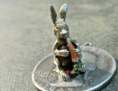Vintage Sterling Silver 3D Enamel Easter Bunny Eating Carrot Jelly Belly Charm!