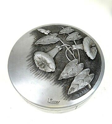RARE FRENCH ART DECO JEWELRY ARTIST PEWTER BOX SIGNED by L. ROZAY ART NOUVEAU