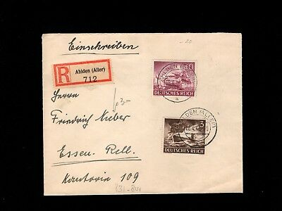 Germany Registered WWII Army Day Tank Submarine Ahlden 1943 to Essen Cover 3i