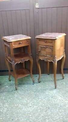 Antique French Louis XV Pair Bedside/Pot Cupboards (H336)