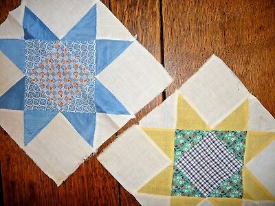 Antique Vintage Lot of 2 OHIO STAR Quilt Blocks Early 1900's Prints