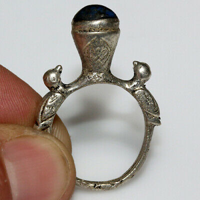 Intact- Near East Post Medieval Silver Plated  Ring Decorated With Birds